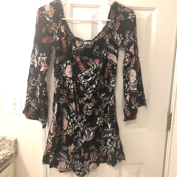 Mossimo Supply Co. Other - Black floral long bell sleeve romper